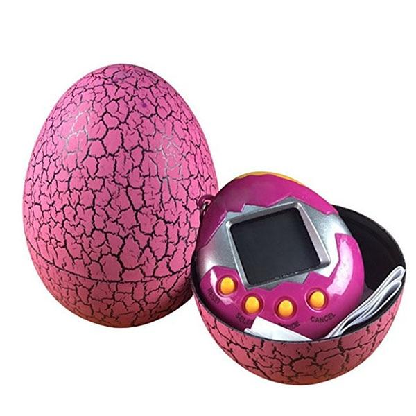 Electronic Pets Child Toy Key Digital Pets Tumbler Dinosaur Egg Virtual Pets Rose Red