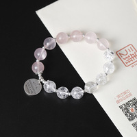 Rose Quartz And Natural Crystal Beads Charm Bracelets For Women 925 Sterling Silver Spiritual Jewelry Heren Armband