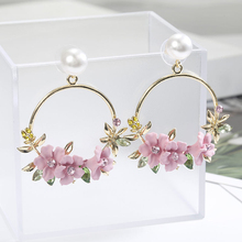 Elegant Fabric Resin Pink Flower Earrings For Women Fashion Red/Pink/Purple Color Crystal Big Drop Earring Hot Sale Brincos 2019