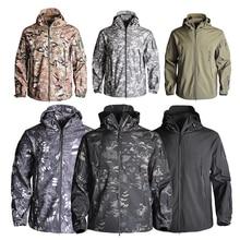 Army Shark Skin Shell Clothes Tactical Windproof Waterproof Men Flight Pilot Hood Coat Military Field Bomber Hunting Jacket New