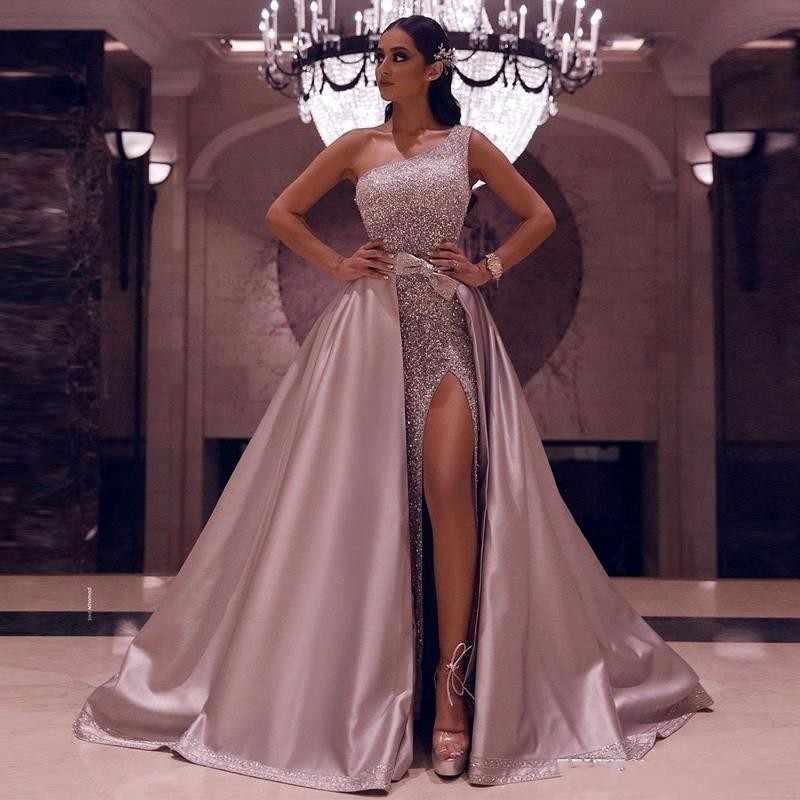 Sequined One Shoulder Evening Dresses