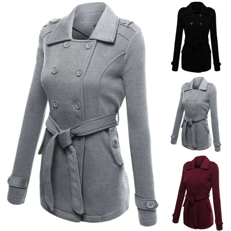 Goocheer Women Fashion Winter New Collared Long Peacoat Coat Trench Outwear Jacket S-2XL