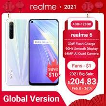 Realme 6 глобальная версия 4 Гб 128 мобильный телефон 90 Гц