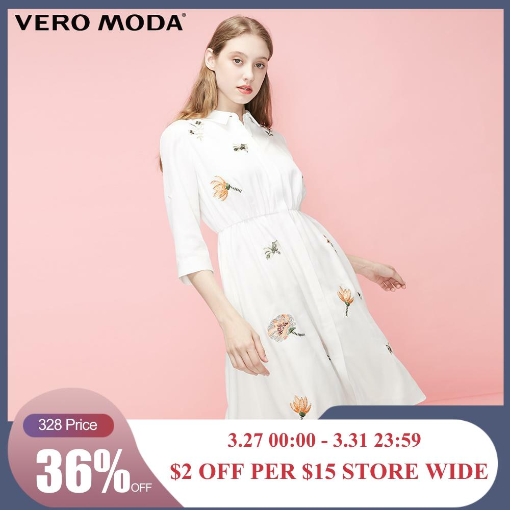 Vero Moda Women's Lyocell Embroidered Flowers High-rise Shirt Dress | 31927C523