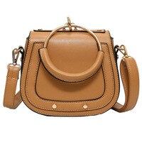 2020 Luxury Handbags Women Bags Designer Genuine Leather Ring Half Moon Saddle Bags Crossbody Girls Purse Clutch Famous Brand