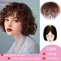 Houyan 100% real peruca de substituição do cabelo humano pequenos grampos de cabelo encaracolado no cabelo em extensões de cabelo grande peruca