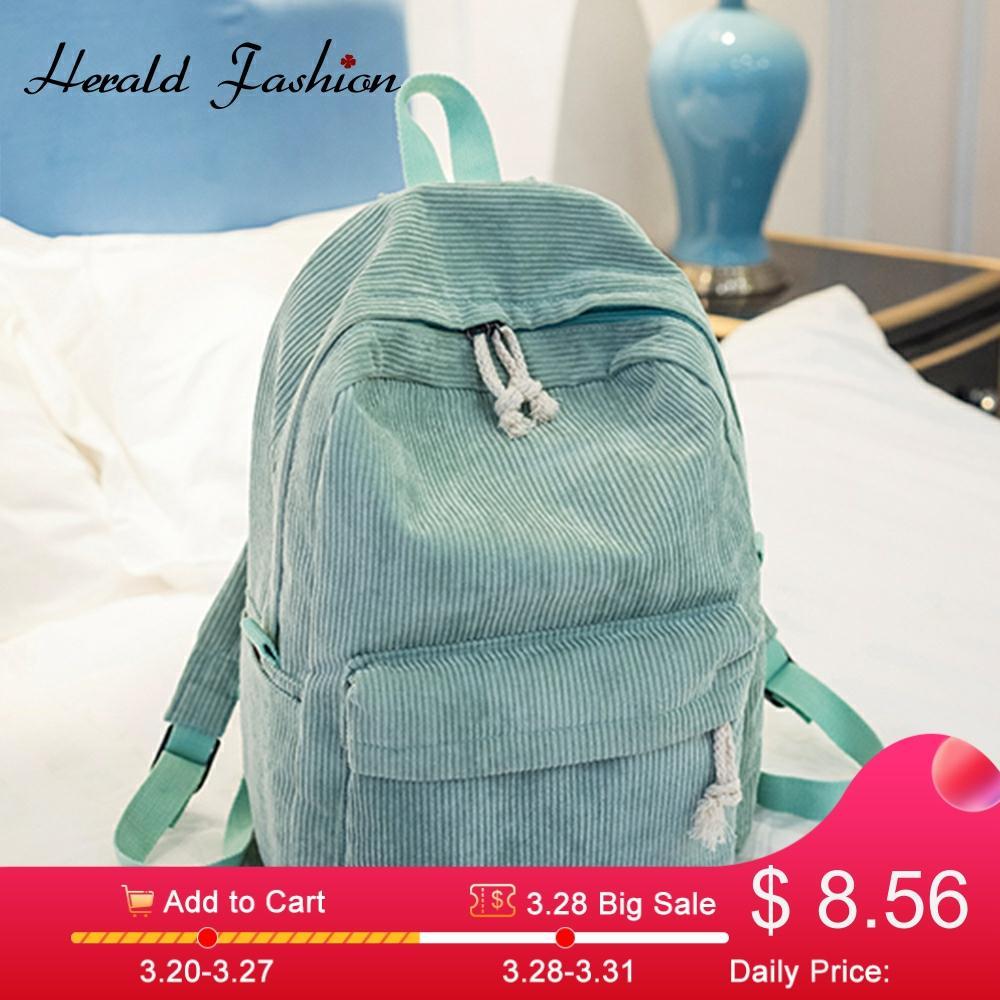 Preppy Style Soft Fabric Backpack Female Corduroy Design School Backpack For Teenage Girls Striped Backpack Women Velvet Screen