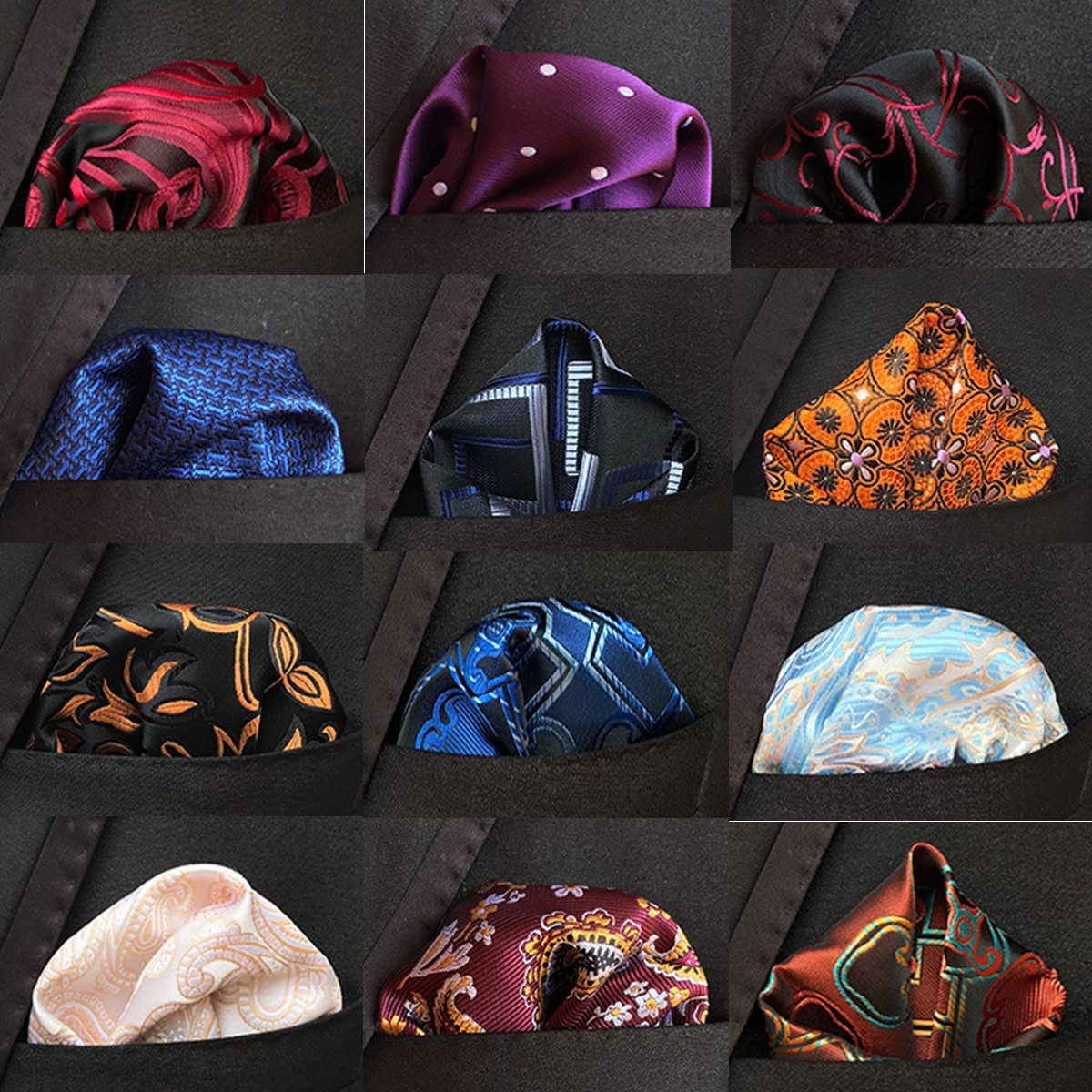 New Design Silk Hanky Red & Black Paisley Men Fashion Floral Dot  Pocket Square Handkerchiefs For Men Suit Costome Handkerchief