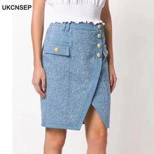 цена на UKCNSEP 2020 High Quality Vintage Denim Skirt Sexy Metal Buttons Women's Skirt Split Faldas Bodycon Party Mini Skirt