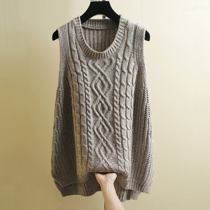 Knitted Vest Sleeveless Sweater Women Oversized 2019 Autumn Vintage Basic Twisted Cable Knitted Tops Loose Underwaist Knitwear