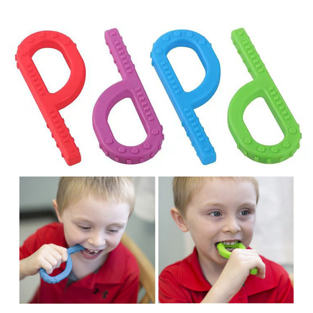 Baby Care Chewing Stick Silicone Teether Training Toy Sensory P Shaped Autistic Non Toxic Infant Therapy Flexible Developmental