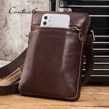 CONTACT'S Genuine Leather Men Crossbody Bag Casual Small Phone Pouch Case Multifunction Shoulder Bags for Mini iPad Male Blosa(China)