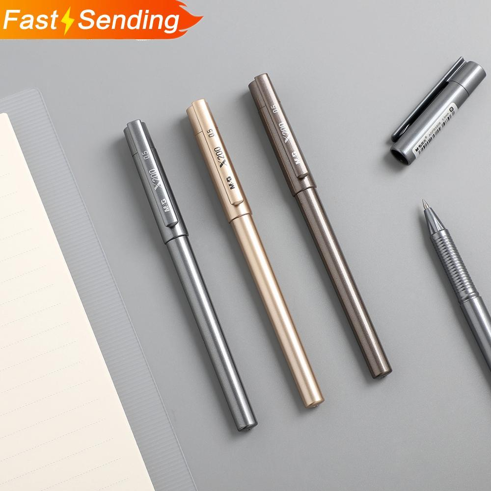 JIANWU 3pcs/set Creative Retro Bullet Gel Pen Metallic Texture Business Straight Liquid Pen Office Supplies Stationery
