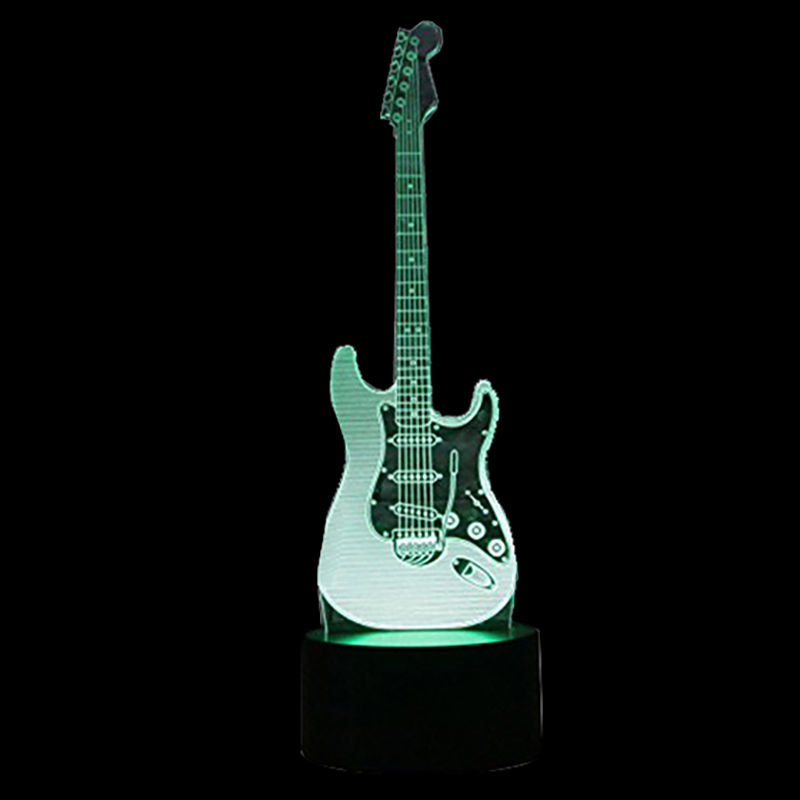 New 3D Electric Guitar Night Light 7 Color Change LED Touch Table Desk Lamp Art Light Christmas Gift Valentines Lighting Fixture