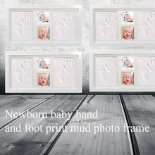 Деревянная рамка нетоксичные ноги фото ребенок Handprint комплект воздушная сушка легко наносится подарок грязь Милая глина Inkpad мягкий запоминающийся