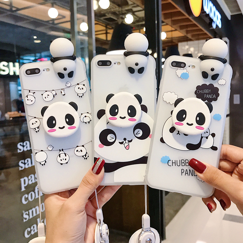Funny cartoon panda phone case for iphone X XS Max XR case for iphone 7 6s 8 plus cute cover doll stand support soft cases Capa image