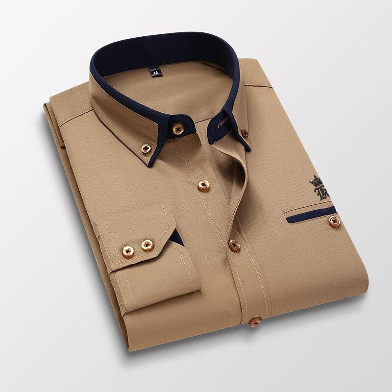 Dudalinas Pocket Sergio K Blusa Camisa Social Masculina Long Sleeve Slim Fit Shirt Men Floral Clothes Pullover White 1