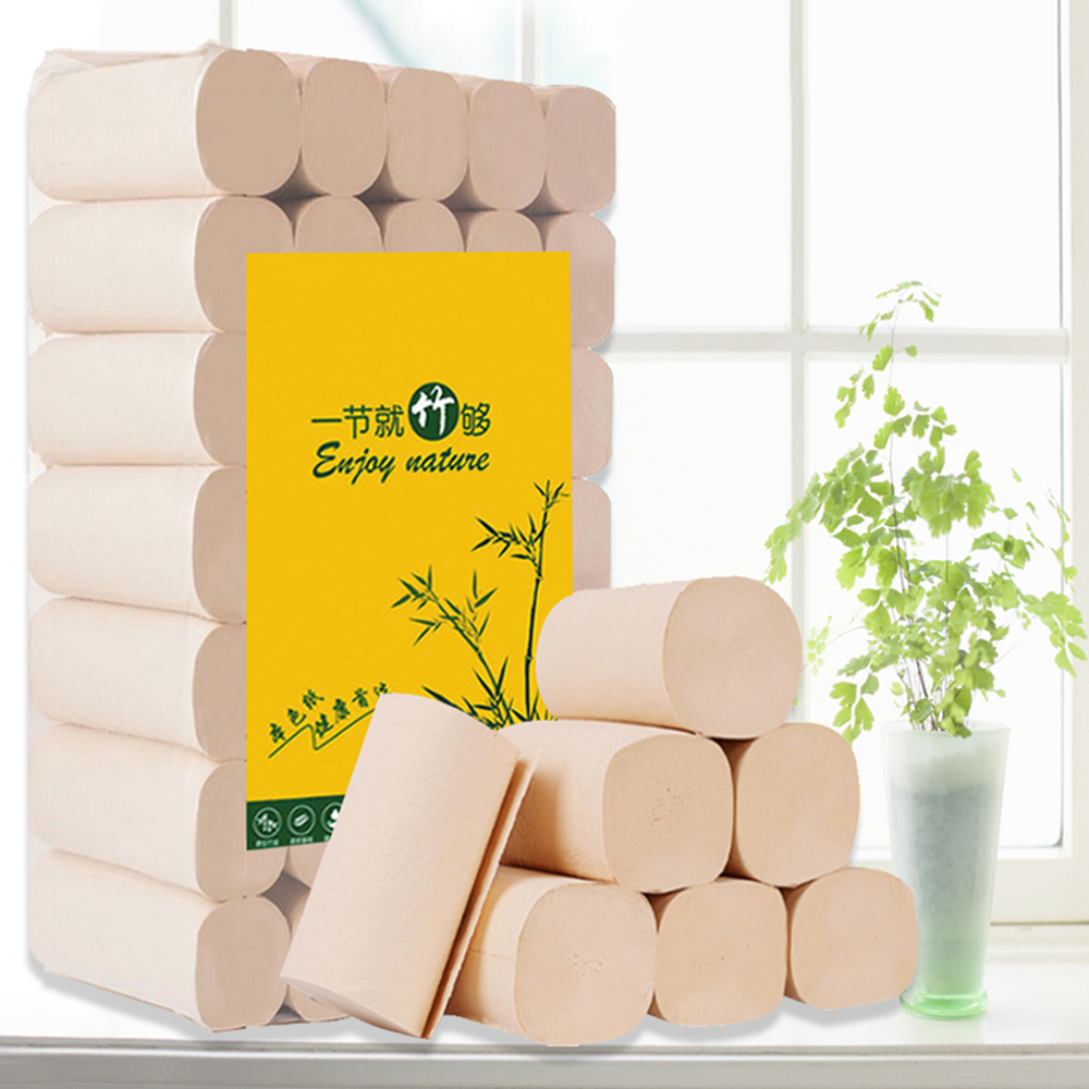 35 Rolls/Lot 4 Layers Primary Wood Pulp Toilet Roll Paper Home Bath Toilet Roll Paper Toilet Paper Tissue Roll