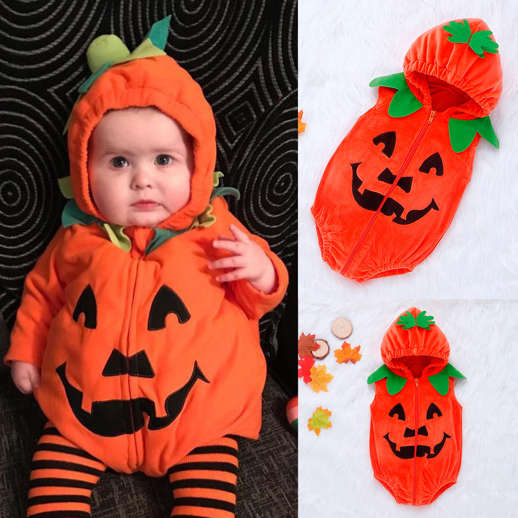Kid Halloween Clothes Newborn Baby Girls Boys Pumkin Print Zipper Hooded   Romper   Costume Roupas Kids Winter Clothes 6M-24M Design