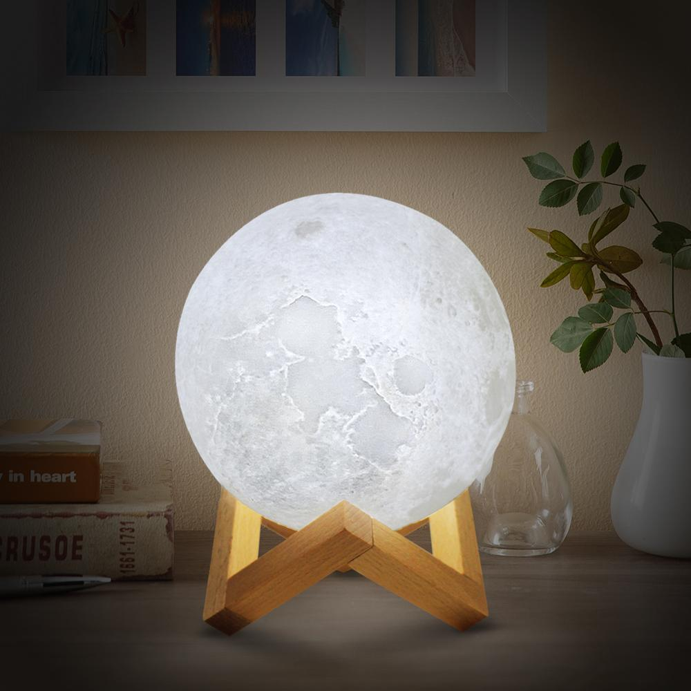 Double Ligh3D Print Rechargeable Moon Lamp LED Night Light Creative Touch Switch Moon Light For Bedroom Decoration Birthday Gift