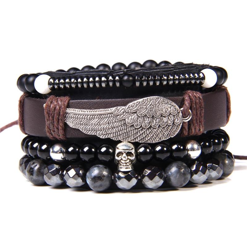Handmade Mix Style Multiple Charm Bracelet Natural Stone Beads Energy Bracelet Vintage Leather Braided Bracelet for Women Men