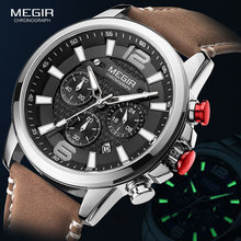 MEGIR Casual Leather Strap Watches Men 2020 Luxury Brand Mil