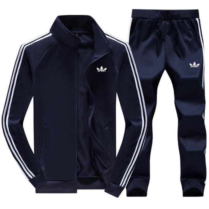 Men Run Gym TrackSuit Sport Jacket Sweats Suit Set Trousers Pants Jogging Activewear