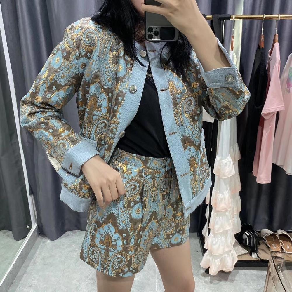 Women Set Vintage Jacquard Single-breasted Long Sleeve Women's Short Jacket + Shorts Suit 2020 New