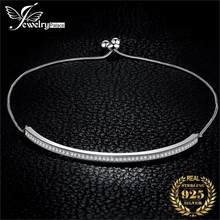 JPalace Love Bracelet 925 Sterling Silver Bracelet Snake Chain Bolo Bracelets For Women Silver 925 Jewelry Making Organizer(China)