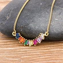 Neue Ankunft CZ Regenbogen Halskette Frau Lange Kette Zirkonia Halskette Natürliche Stein Schmuck Kragen Gold Anhänger Geschenk Für Frauen