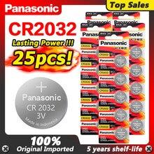 PANASONIC nowy 25 sztuk 3v Cr2032 CR 2032 monety baterie 5 lat okres trwałości Lir2032 Bateria do kalkulatora zegarek zegar Alarm zabawka