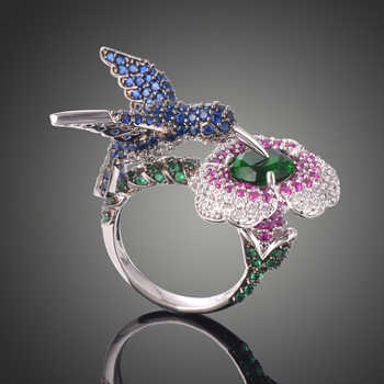 Lamour & ma Luxus Crtystal Ring Kreative Blau Adler Rosa Blume Ring Für Frauen Damen Mode Schmuck Hochzeit Geburtstag Geschenke