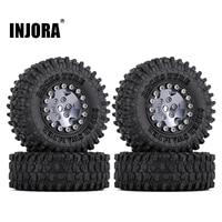 """INJORA 4PCS CNC 1.0"""" Beadlock Wheel Rims Tires Set for 1/24 RC Crawler Car Axial SCX24 AXI90081 AXI00001 AXI00002 Deadbolt 1"""