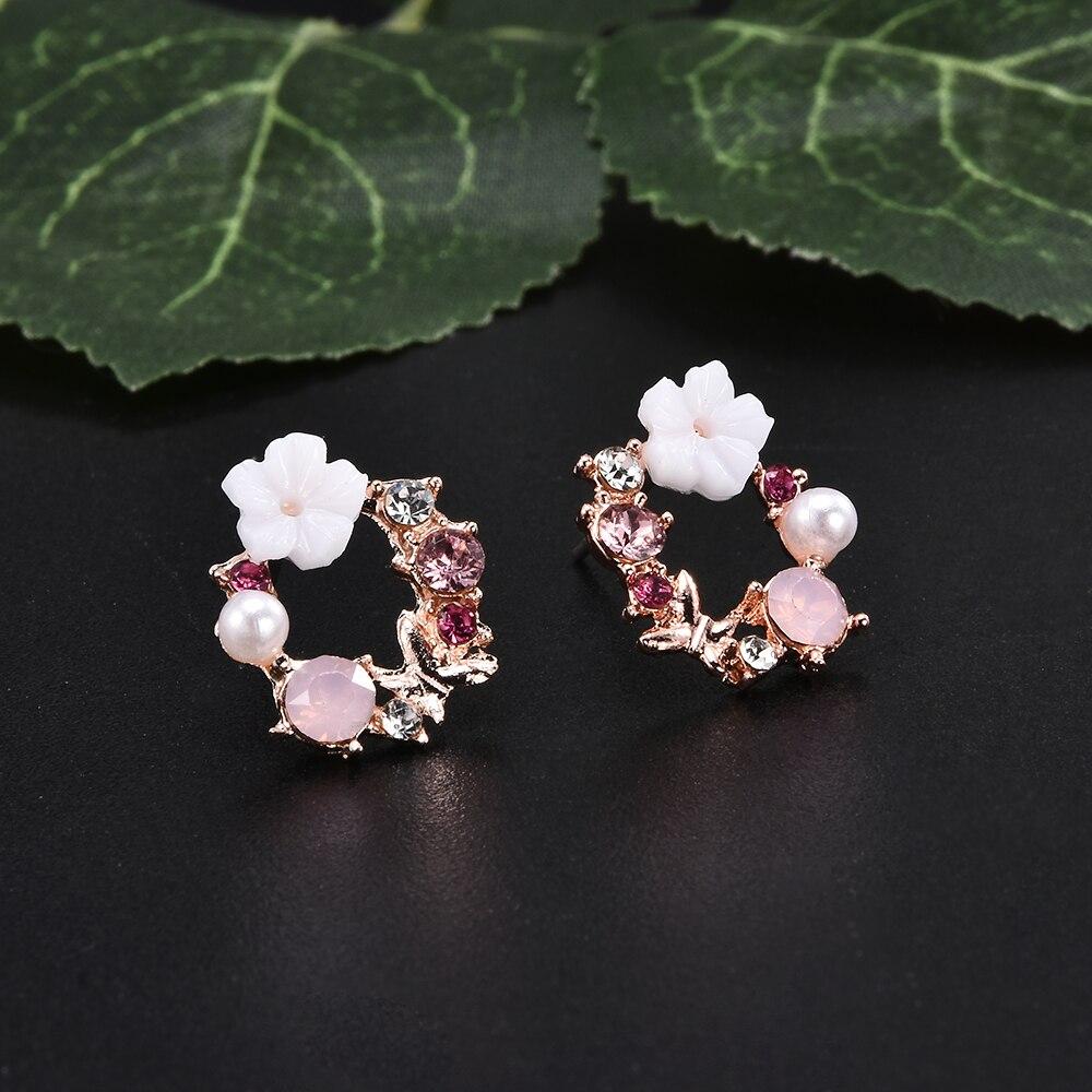Новые белые жемчужные серьги-бабочки с цветком для женщин, стразы, розовые серьги с искусственным жемчугом, Модные женские ювелирные издели...