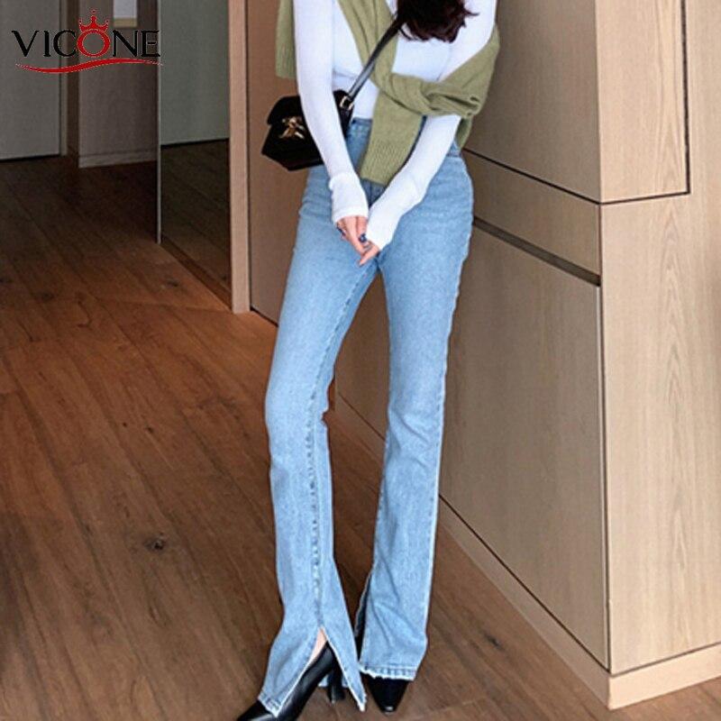 VICONE Vintage Flare Jeans Blue High Waist Button Split Floor-length Women Denim Jeans Fashion Female Denim Pant 2020 Spring