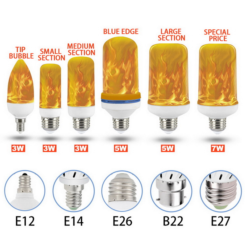 <font><b>LED</b></font> Flame Lamp E27 E26 B22 E14 E12 Light <font><b>Bulb</b></font> Flame Effect Lamps Flickering Emulation 3W 5W 7W 9W Decor Lamp AC85-265V new image