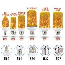 LED Flame Lamp E27 E26 B22 E14 E12 Light Bulb Flame Effect L