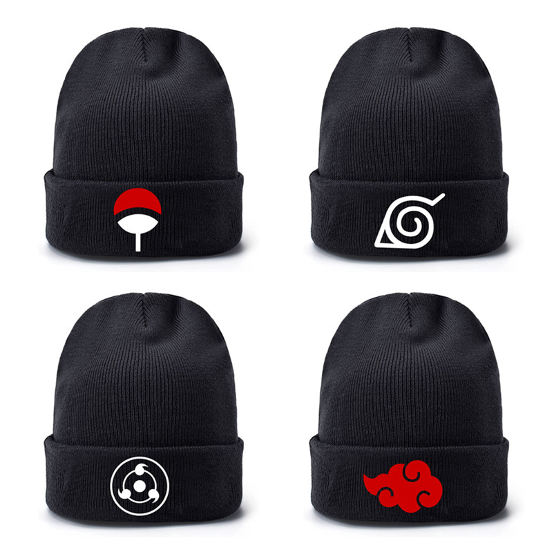Anime Ninja Sharingan Red Cloud Baseball Caps Knitted Winter Warm Hats Men Women Boys Girls Elastic Black