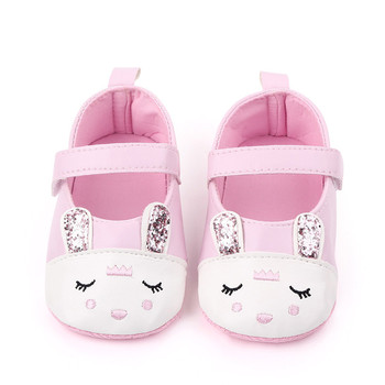 Fashion Cute Animal Pattern Baby Girl Shoes Soft Sole Crib Shoes For Girls Newborn Rabbit Print Bowknot Infant Shoes Toddler image