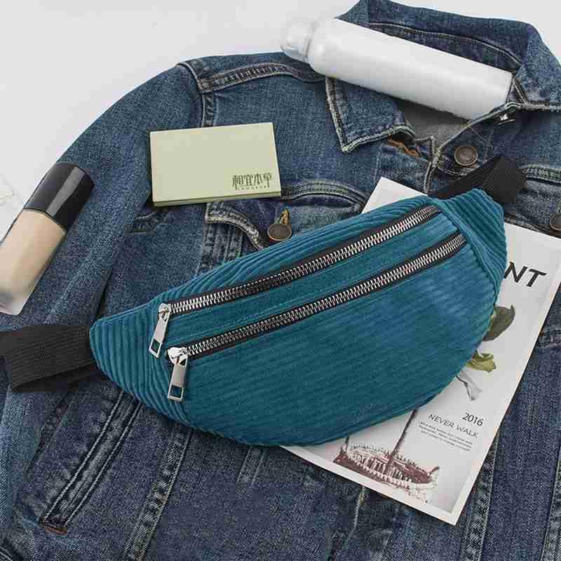 Fashion Corduroy Waist Bag Multifunctional Casual Close Double Zipper Flannel Travel Money Phone Belt Bags