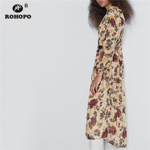 ROHOPO Vertical Striped Red Floral Splice Long Sleeve Midi Dress Peplum Overlocked Top Buttons Maxi Vestido #9001 floral striped raglan sleeve top