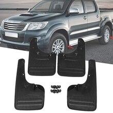 4X Передняя и тыльная грязь щитки Брызговики-крыло для Toyota Hilux Vigo 2005- пластик прямой Болт установка внешние части