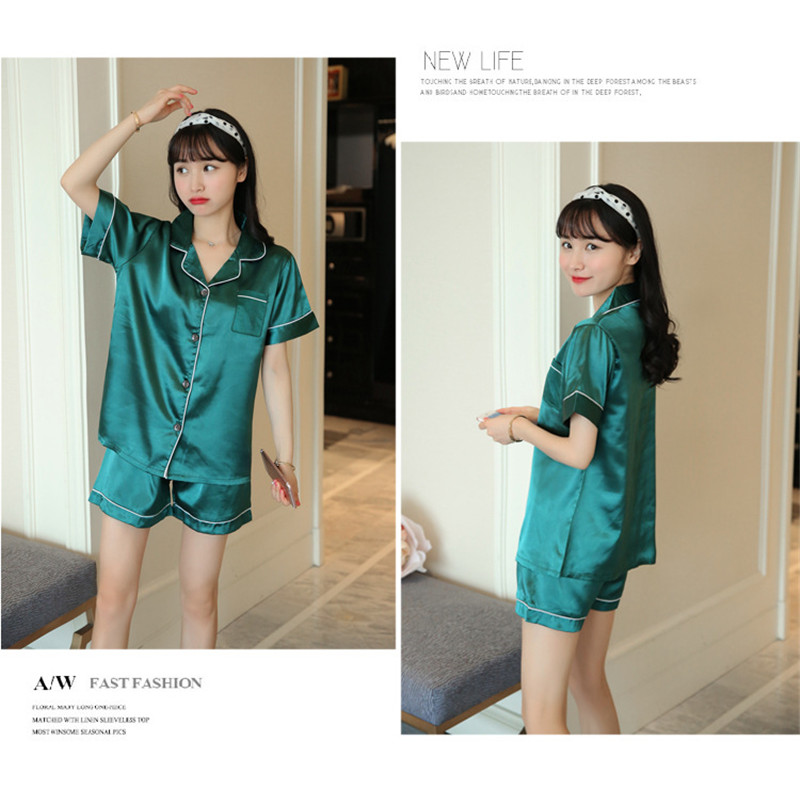 Ha2558bdb6d1c4e90a66fb7a7061a8193G - JULY'S SONG New Spring Summer Women Faux Silk Pajamas Set Simple Pure Color Leisure Nightwear Short Sleeves Sleepwear