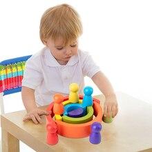 2020 Rainbow Waldorf Wooden Baby Toy Montessori Rainbow Building Blocks Wood Jenga Game Early Educational Toy for Kid Boy Girl