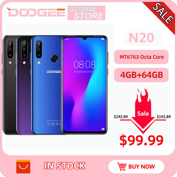 DOOGEE N20 Mobilephone 64GB 4GB MT6763 Octa Core Fingerprint 6.3inch FHD+ Display 16MP Triple Back Camera 4350mAh Cellphone LTE