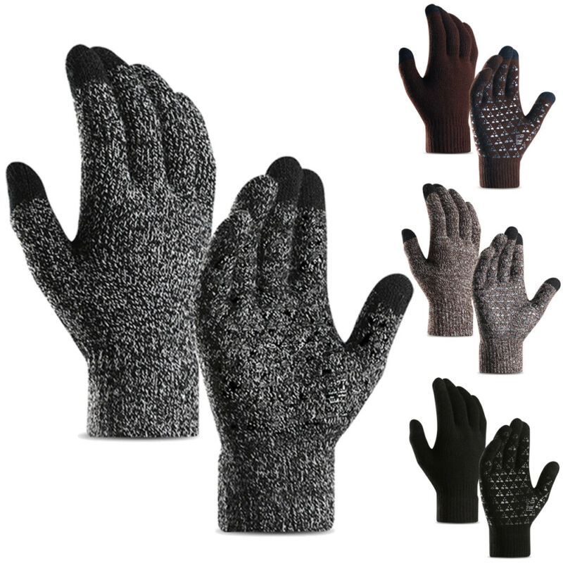 Winter Warm Cotton Wool Thick Wrist Gloves Men Touch Screen Gloves For Smart Phone Tablet Full Finger Mittens