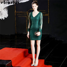 Prom Gown Plus Size Vestidos De Gala DX242 2019 New Sexy V-Neck Long Sleeves Prom Dress Green Sequined Dresses Women Party Night