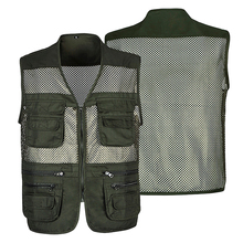 Summer Mesh Shooting Men Overalls Vest Male Casual Breathable Sleeveless Jacket Mens Multi Pocket Reporter Outdoor Waistcoat multi pocket tactical vest black male vest outdoor male cs field equipment breathable mesh