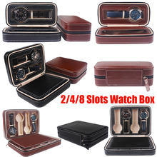 2/4/8 Grids PU Leather Watch Box Storage Showing Watches Display Storage Box Tray Zipper Travel Jewelry Watch Collector Case D30 6 grids watch display case pu leather jewelry storage box organizer