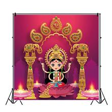 Photography Backdrop Diwali Candle-Elephant Blessing Gold Red Wall-Hanging Festival Sparkly